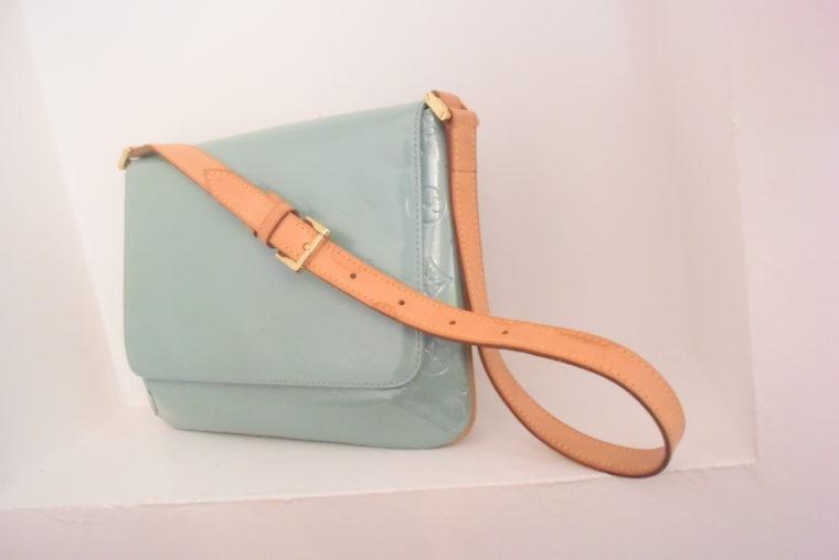 Louis Vuitton Tasche Thompson Street Vernis Leder blau-6551