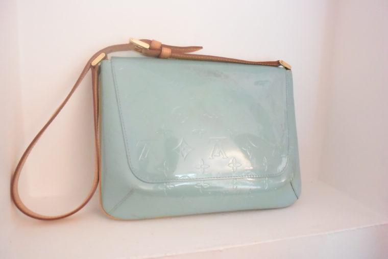 Louis Vuitton Tasche Thompson Street Vernis Leder blau-0