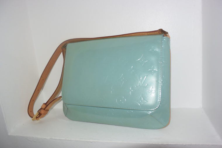 Louis Vuitton Tasche Thompson Street Vernis Leder blau-6554