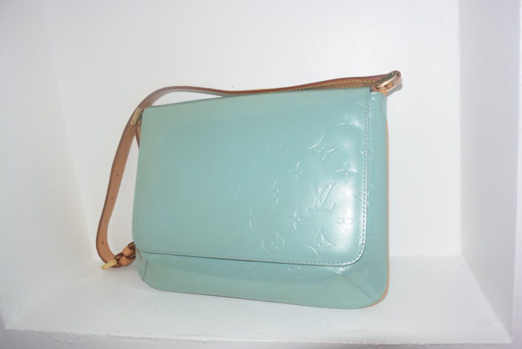 Louis Vuitton Tasche Thompson Street Vernis Leder blau-6556