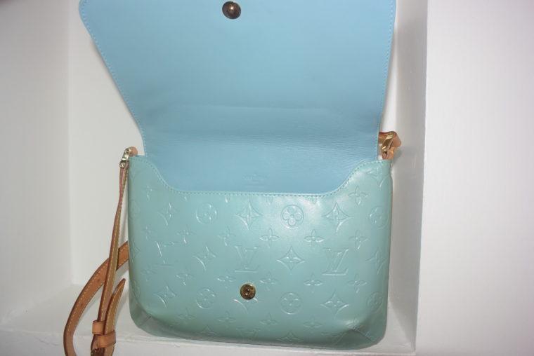 Louis Vuitton Tasche Thompson Street Vernis Leder blau-6559