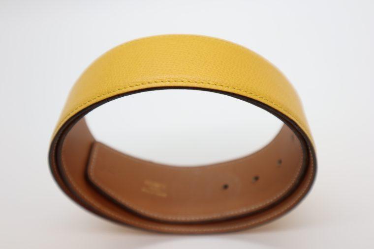 Hermès Gürtel Wendegürtel gelb beige-14688