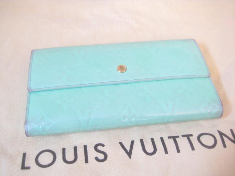 Louis Vuitton Geldbörse International Vernis Leder türkis -0