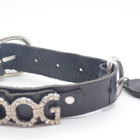 Hundehalsband DOG Leder schwarz