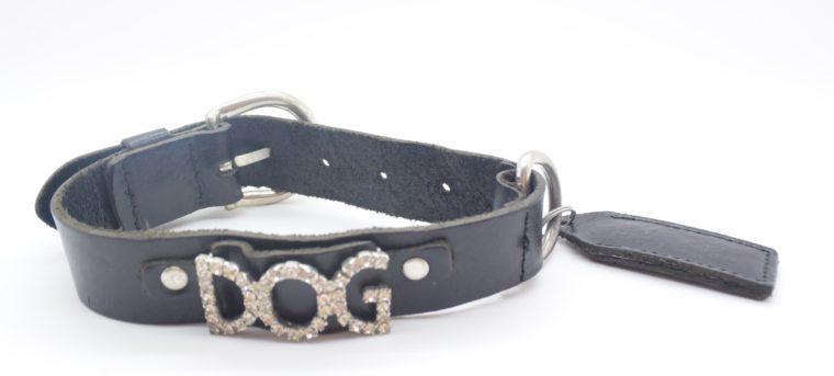 Hundehalsband DOG Leder schwarz-0