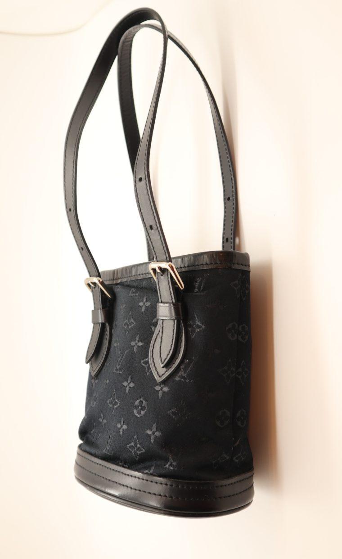 Louis Vuitton Tasche Bucket Satin schwarz-0