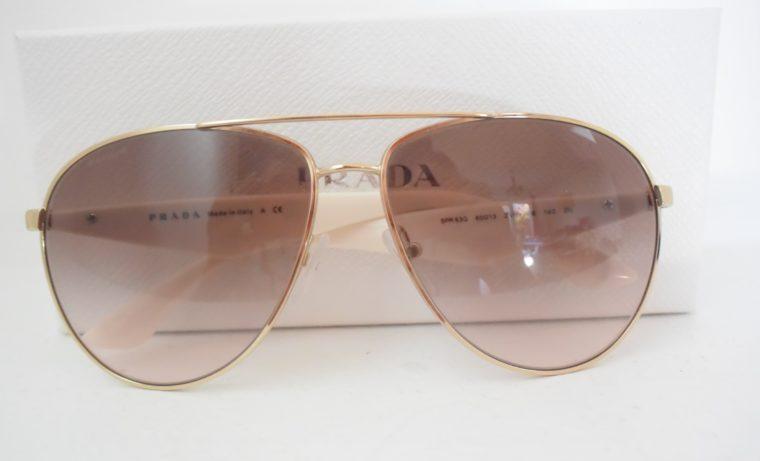 Prada Sonnenbrille Pilotenbrille gold / weiß-7793