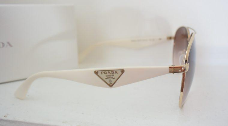 Prada Sonnenbrille Pilotenbrille gold / weiß-7787
