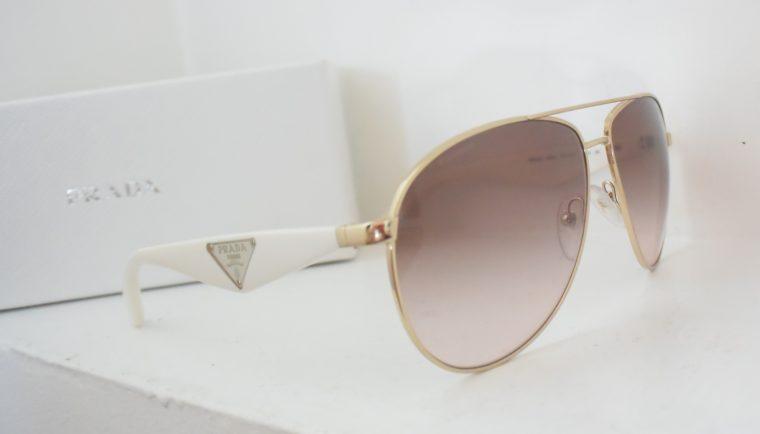 Prada Sonnenbrille Pilotenbrille gold / weiß-7794