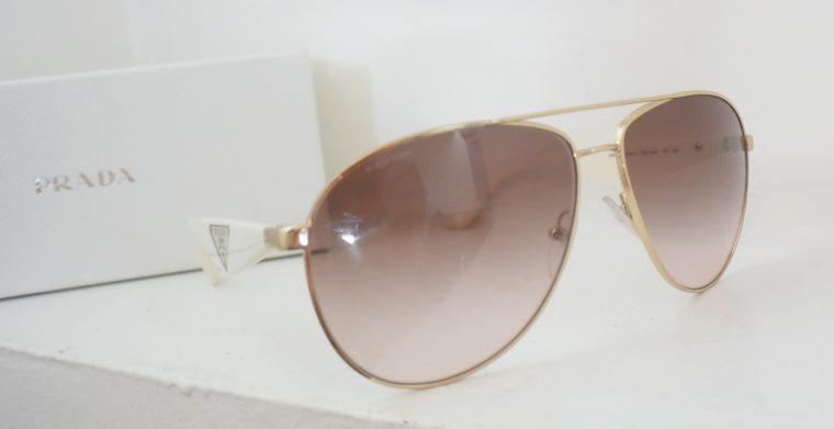 Prada Sonnenbrille Pilotenbrille gold / weiß-0