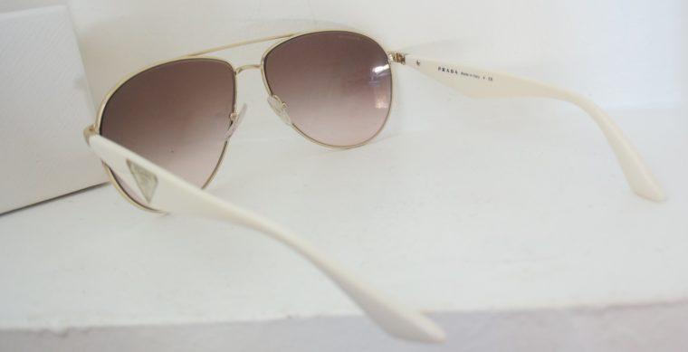 Prada Sonnenbrille Pilotenbrille gold / weiß-7795