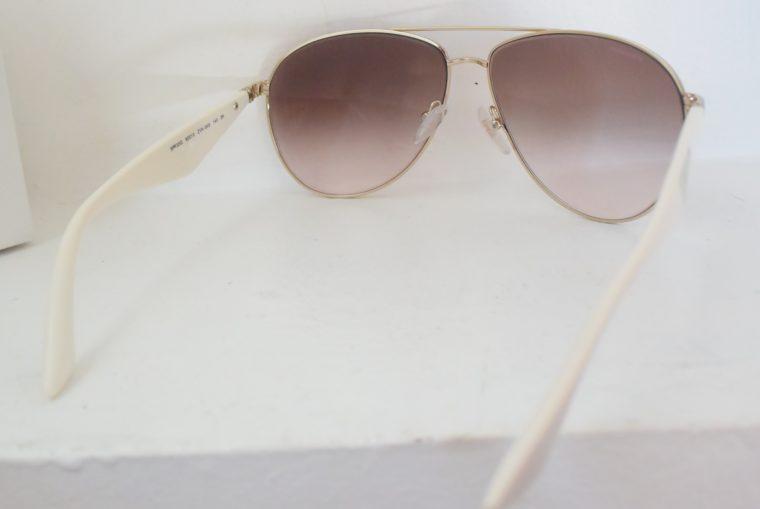 Prada Sonnenbrille Pilotenbrille gold / weiß-7790