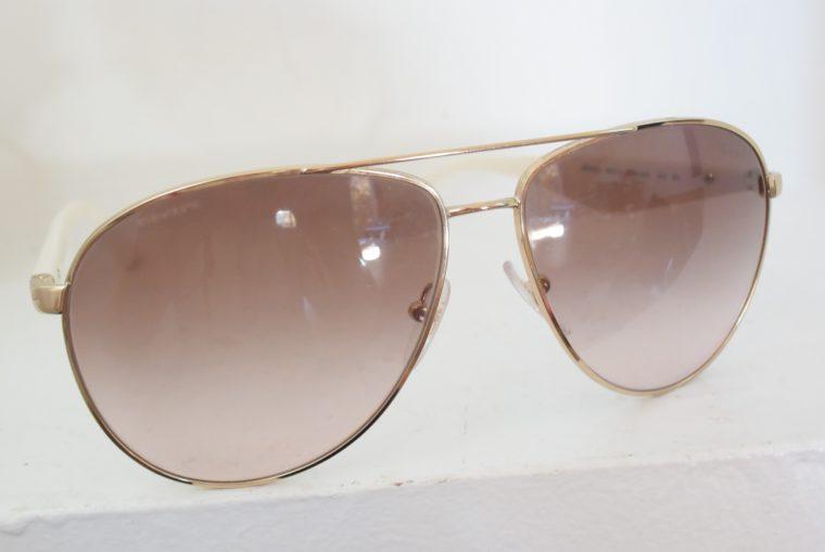 Prada Sonnenbrille Pilotenbrille gold / weiß-7796