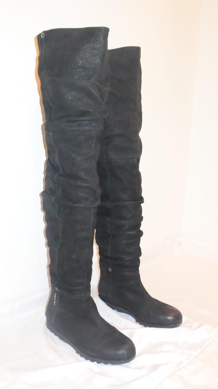 Prada Stiefel Leder hoch schwarz 36-0