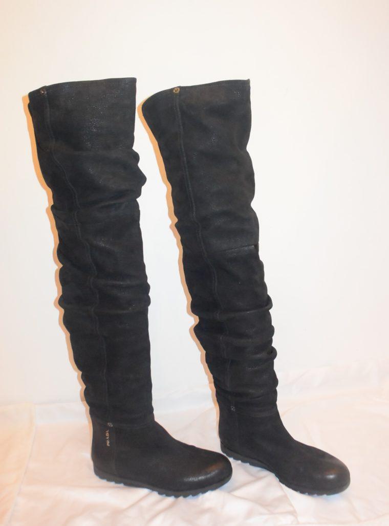 Prada Stiefel Leder hoch schwarz 36-8654