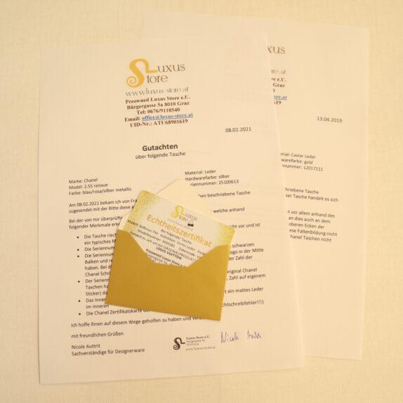 ECHTHEITZERTIFIKAT / GUTACHEN für überprüfte Designerware (Tasche prüfen ob fake oder original)