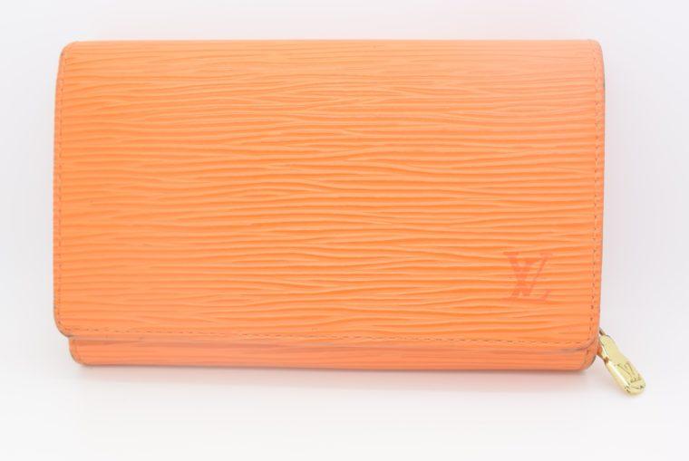 Louis Vuitton Geldbörse Porte-monnaie billets trésor Epi Leder orange-0