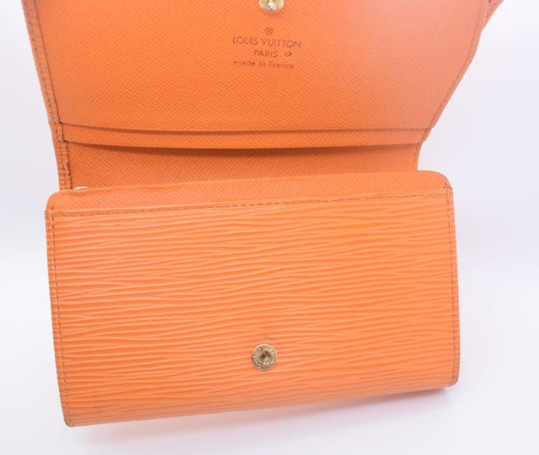 Louis Vuitton Geldbörse Porte-monnaie billets trésor Epi Leder orange-11116
