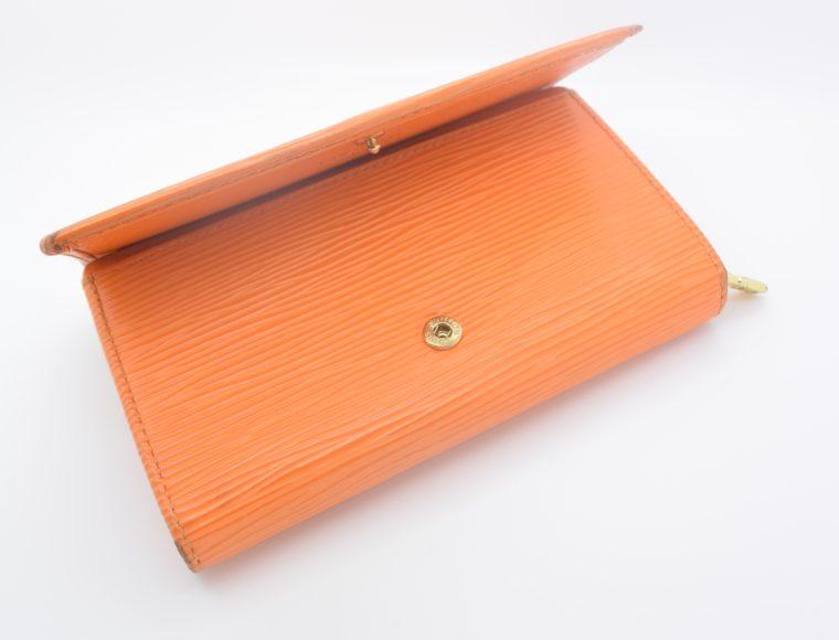 Louis Vuitton Geldbörse Porte-monnaie billets trésor Epi Leder orange-11119