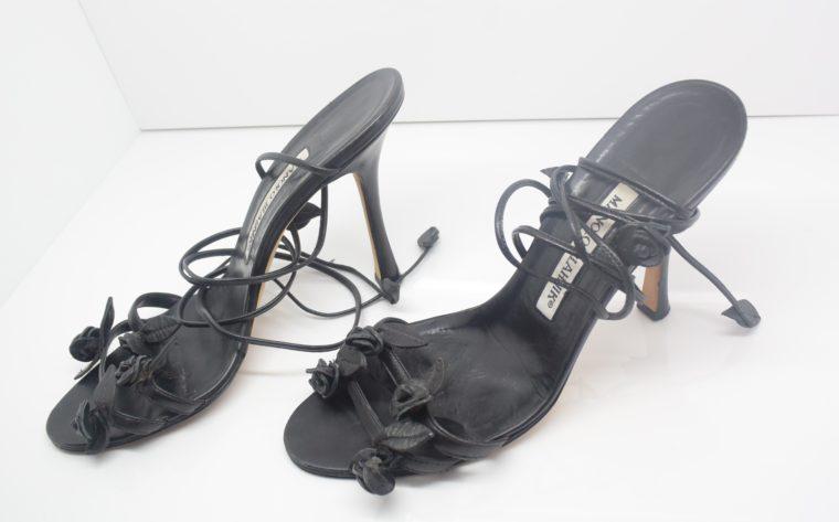 Manolo Blahnik Schuhe Pumps schwarz Blumen 37-12415
