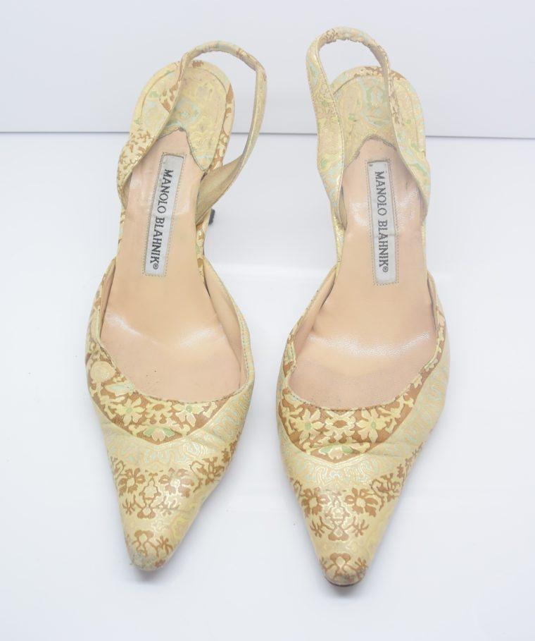 Manolo Blahnik Schuhe Pumps gold Muster 37-12442