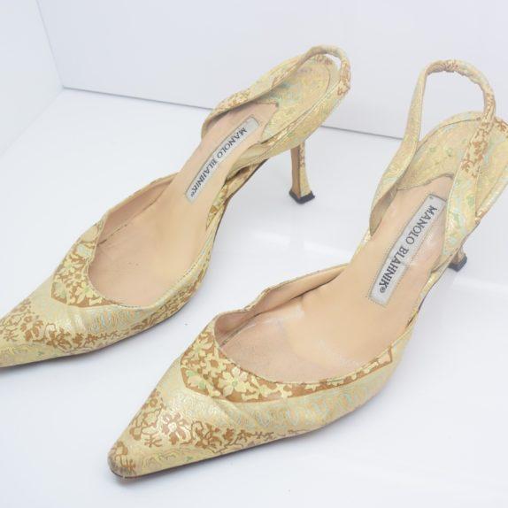 Manolo Blahnik Schuhe Pumps gold Muster 37