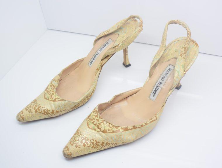 Manolo Blahnik Schuhe Pumps gold Muster 37-0