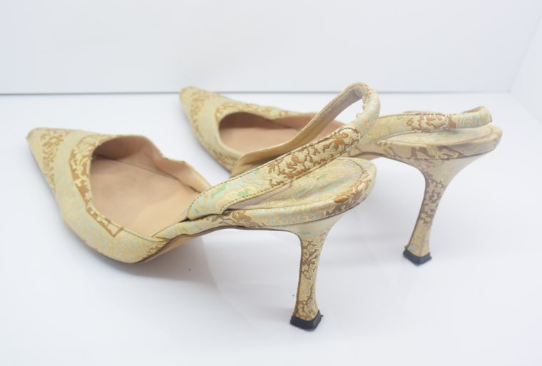 Manolo Blahnik Schuhe Pumps gold Muster 37-12444