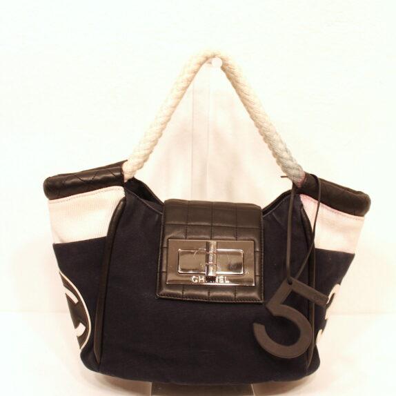 Chanel Tasche Stoff 5 blau weiß