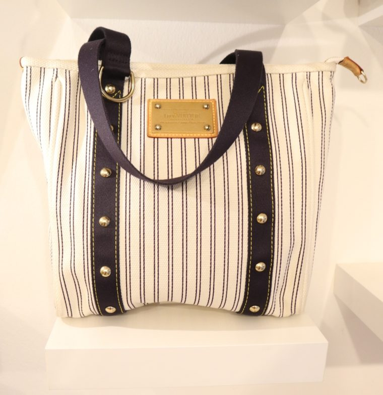 Louis Vuitton Tasche Cabas MM Toile Antigua blau weiß-0