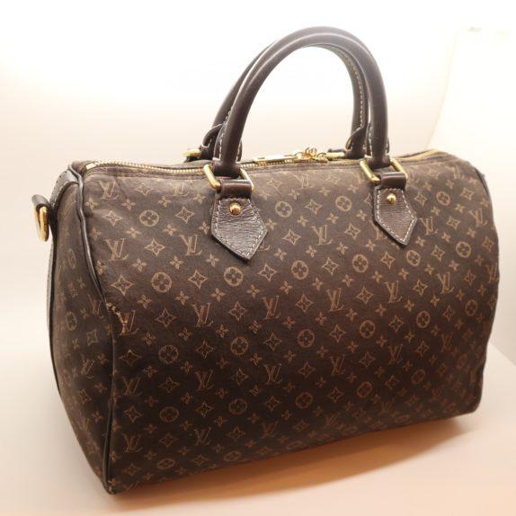 Louis Vuitton Tasche Speedy 30 band. Mini Lin dunkelbraun