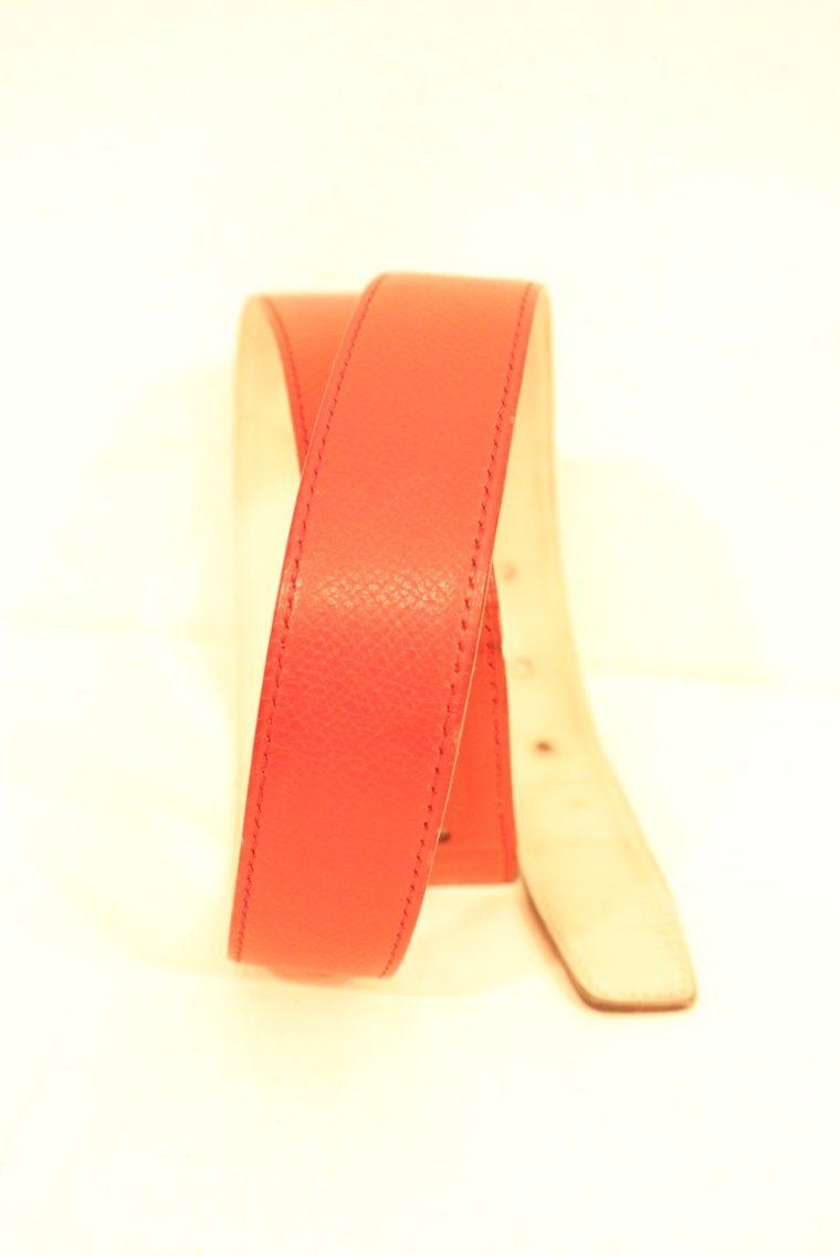 Hermes Gürtel rot / weiß Leder Wendegürtel-15239