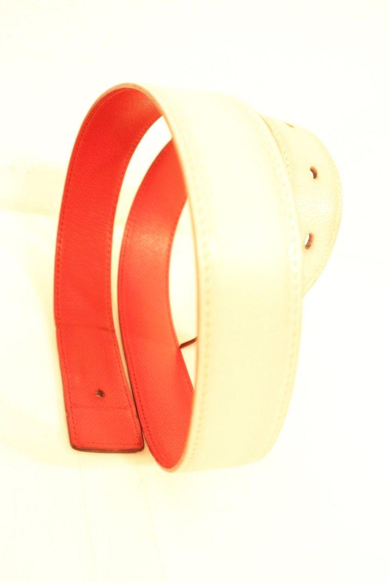 Hermes Gürtel rot / weiß Leder Wendegürtel-15244