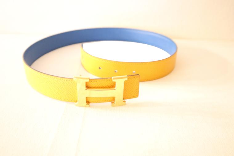 Hermes Gürtel Wendegürtel blau gelb-15527