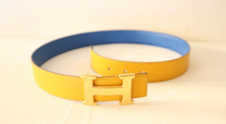 Hermes Gürtel Wendegürtel blau gelb-15529