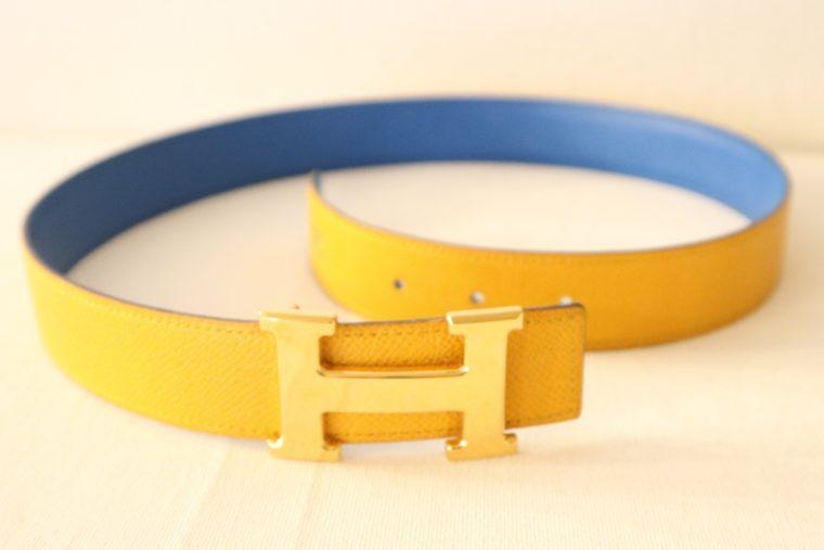 Hermes Gürtel Wendegürtel blau gelb-15528