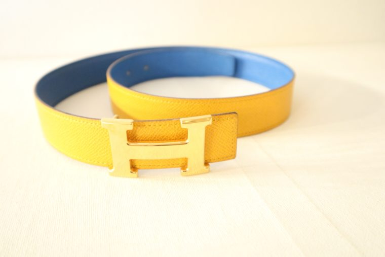 Hermes Gürtel Wendegürtel blau gelb-15530