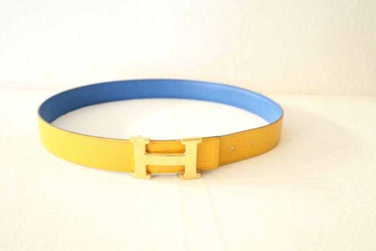 Hermes Gürtel Wendegürtel blau gelb-15531