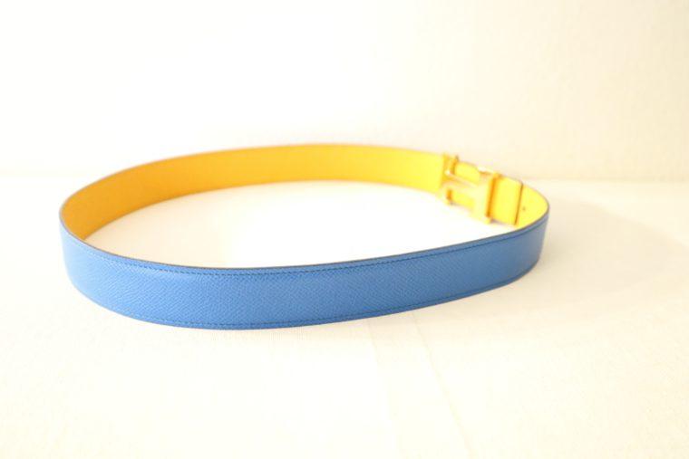 Hermes Gürtel Wendegürtel blau gelb-15532