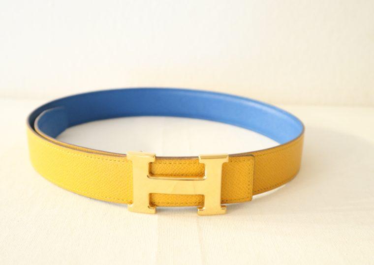 Hermes Gürtel Wendegürtel blau gelb-15534