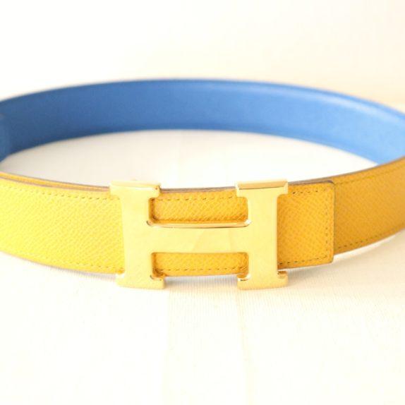 Hermes Gürtel Wendegürtel blau gelb