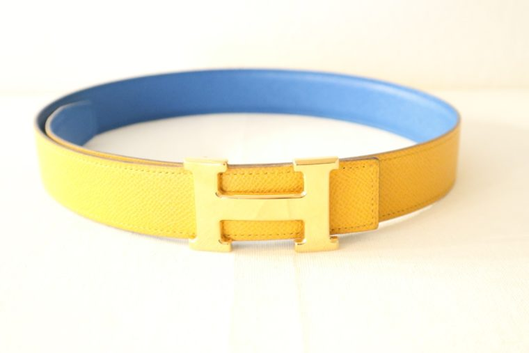 Hermes Gürtel Wendegürtel blau gelb-0
