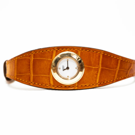 Hermes Uhr Krokodilleder orange